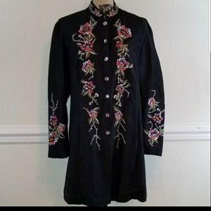 ❣️Medium Vintage silk blend jacket, embroidered